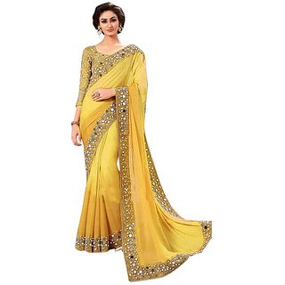 Mastani Yellow Georgette Embroidered Saree With Embroidered Work Blouse  - real mirror work