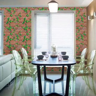 Jaamso Royals Classic decoration wall paper Virginia creeper and red brick for home bedroom living room (Wall Paper )