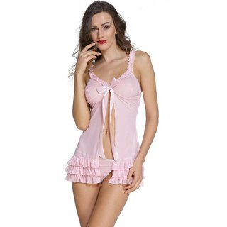 e13f799f273 Buy Temfen Women s Pink Premium Babydoll Sexy Intimate Nightwear with  G-String Online - Get 79% Off