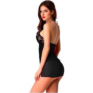 Temfen Women's Black Premium Babydoll Sexy Intimate Nightwear with G-String