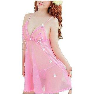 Temfen Women's Pink Premium Babydoll Sexy Intimate Nightwear with G-String
