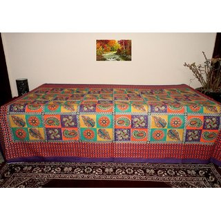 A&H Checks Printed Cotton Single Bed Diwan Sheet (Set of 1 Pc ) - Purple Color ( No Pillow Cover Included)