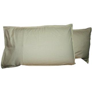 A&H Beige color Striped Design Cotton Pillow Cover ( Set of 2 Pcs ) 27x17 Inch.