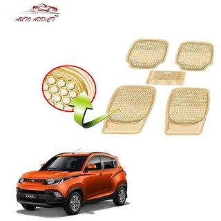 Auto Addict Car 3G Honey Rubber PVC Heavy Mats Beige Color 5Pcs for Fiat Abarth