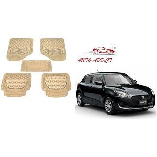 Auto Addict Car 6255 TW Rubber PVC Heavy Mats Beige Color 5Pcs for Honda Brio