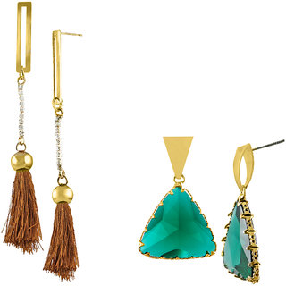 Combo Pack of 2 Gold Plated Fancy Earrings