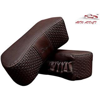 Auto Addict CV Designer Cola Neck Leatherite Car Pillow Cushion 2 Pcs for Universal For Car