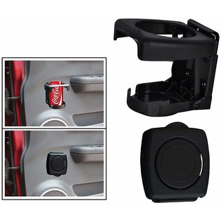 Autonext Foldable Car Drink/Can/Glass Bottle Holder Black Set of 2 for Maruti Suzuki Alto 800