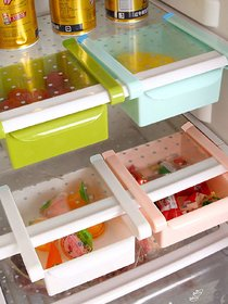 Pack Of 4 Plastic Multicolor Fridge Storage Pull-Out Layer Partition Drawer by Dhyana