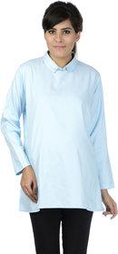 Infinait Women's Maternity Light Blue cotton blend Top