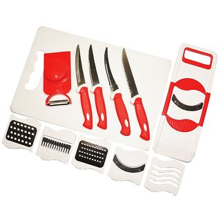 Dhyan Combo of 8 in 1 Slicer, 4 Pcs Knife, 7 Fruit  Vegetable Chopping Board (Set of 6)