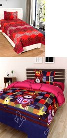 Modern Home Poly Cotton 2 Single Bedsheets with 2 Pillow Covers