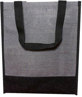 Flyura 1 Pocket Jute Tote Bag for Everyday Use with Handels Lunch Bag (Grey  Black)