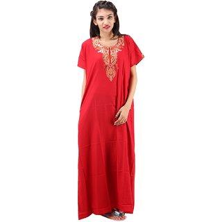 63c161fae6 Buy Valencia Sleepwear Women s Embroidery Night Gown Nighty Maxi Nightwear  Lizzybizzy cotton loungewear Online - Get 45% Off