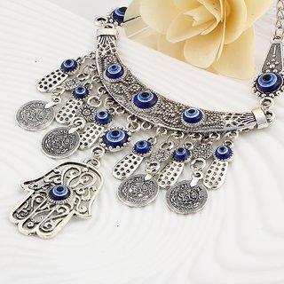 Vorra Fashion Antique Wild Coin Fatima Hand Evil Eye Necklace For Women's
