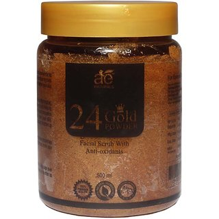 AE NATURALS 24k Gold Powder Extract Facial Scrub With Anti oxidents 500ml