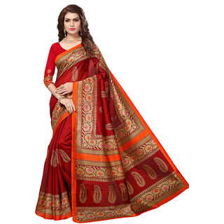 Active Brown Bhagalpuri Silk Printed Saree With Blouse