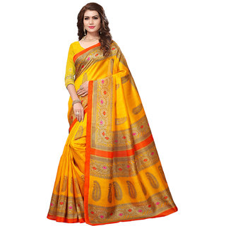 Active Orange Bhagalpuri Silk Printed Saree With Blouse
