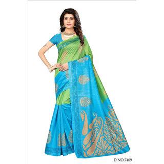 Active Multicolor Bhagalpuri Silk Printed Saree With Blouse