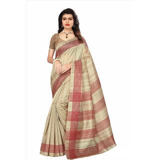 Active Cream Bhagalpuri Silk Printed Saree With Blouse