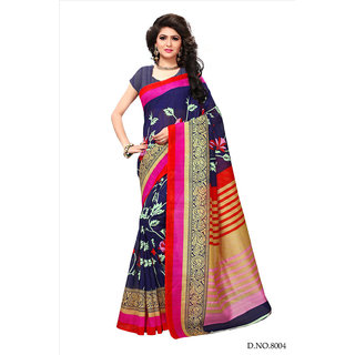 Active Black Bhagalpuri Silk Printed Saree With Blouse