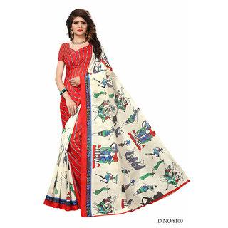 Active Turquoise Bhagalpuri Silk Printed Saree With Blouse