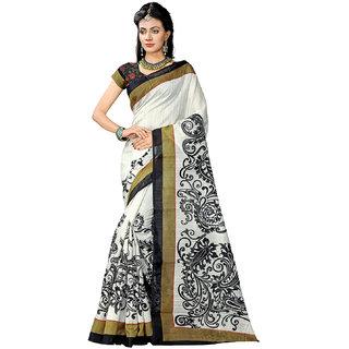 Active Black Bhagalpuri Silk Printed Saree With Blouse