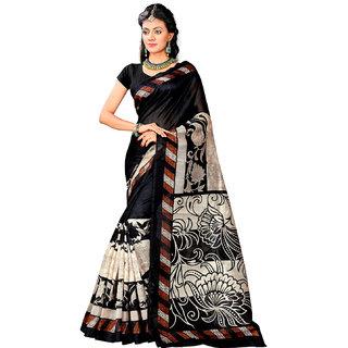 Active Beige Bhagalpuri Silk Printed Saree With Blouse