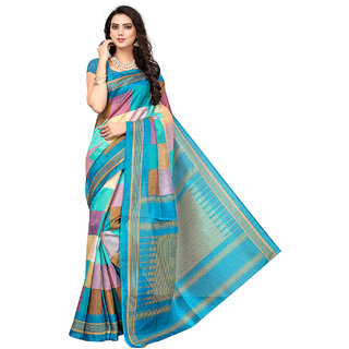Active Beige Bhagalpuri Silk Printed Saree With Blouse