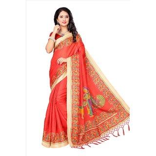 ae0b6256a0c Indian Fashionista Women s Orange Animal Mysore Silk Khadi Saree With Blouse