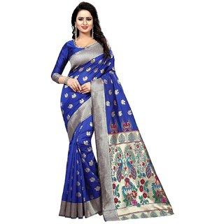 c5adb92c2f Indian Fashionista Women's Sky Blue Embellished Kanjeevaram Kanchipuram  silk Saree With Blouse
