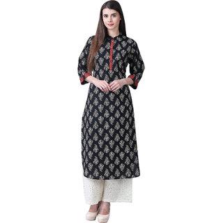 Kurti's by Menka Black Cotton Embellished Stitched Kurti
