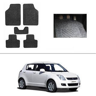 KunjZone Best Quality Set of 5 Carpet Black Car Foot Mat / Car Floor Mat for  Maruti Suzuki Swift
