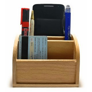 Crownlit Curved Style Wooden Desk Organiser with 4 Compartments