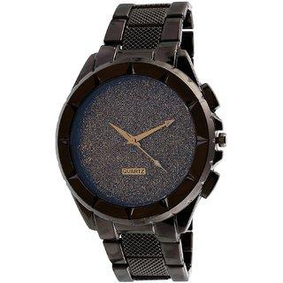 new black dial black steel strap watch for boys  men 6 month warranty