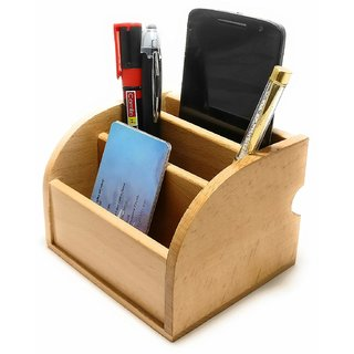 Crownlit Compact Two Way Wooden Desk Organiser with 3 Compartments