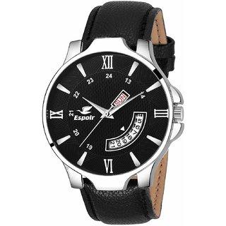 Espoir Round Dail Black Leather StrapMens Quartz Watch For Men