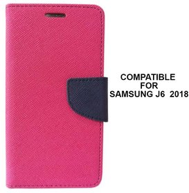 MOBIMON Mercury Goospery Fancy Diary Wallet Flip Cover for Samsung Galaxy J6 (2018) Premium Quality - Pink