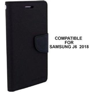 MOBIMON Mercury Goospery Fancy Diary Wallet Flip Cover for Samsung Galaxy J6 (2018) Premium Quality - Black