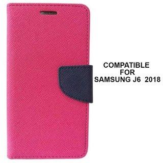 MOBIMON Mercury Goospery Fancy Diary Wallet Flip Cover for Samsung Galaxy J6 (2018) Premium Quality - Pink