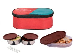 Brown 2 Container + 1 Chapati Tray Lunchbox 700Ml with fork and spoon Red