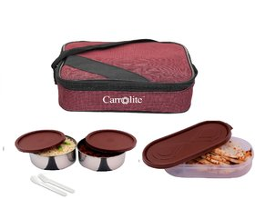 Brown Square 2 Container + 1 Chapati Tray Lunchbox Cherry 700 Ml with Fork and spoon