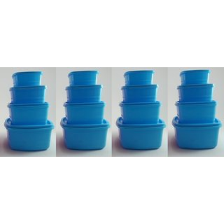 Airtight Plastic Food Storage Containers Set of 16 PCS (1350 ml 750 ml 500 ml 250 ml) Blue