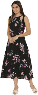 Yaadleen Crepe Black A- line Dress