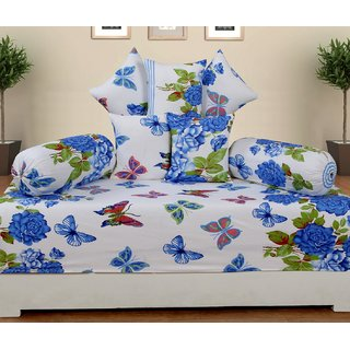 craftwell 8 Piece cotton diwan set (1 single bedsheet, 2 bolster cover  5 cushion cover)