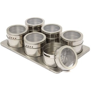 BANQLYN 6Pc Magnetic Stainless Steel Spices Rack