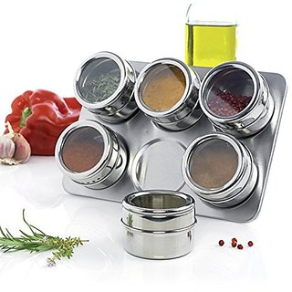 BANQLYN House of Quirk 6Pc Magnetic Stainless Steel Spices Rack