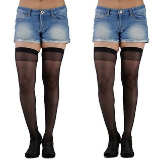 Pack Of 2 Ultra Sheer Silky Thigh High Stockings Free Size For women
