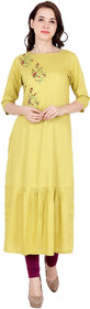 Fabster Women's smart fit  flaired yellow Color Kurti