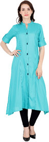 Fabster Women's smart fit  flaired Blue Color Kurti -S